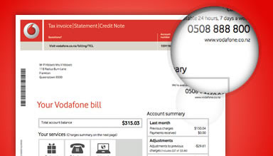 Vodafone Bill close up