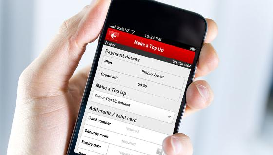 Top Up From Mobile-Vodafone App UI