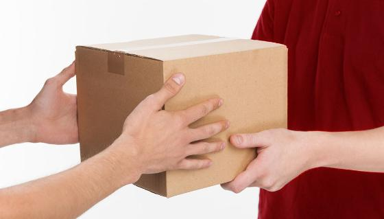 Close-up of hands holding cardboard box