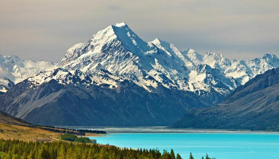 Mount Cook and Pukaki lake, New Zealand