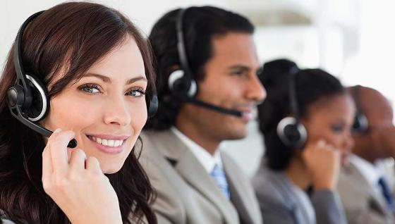 Contact centre agent smiling