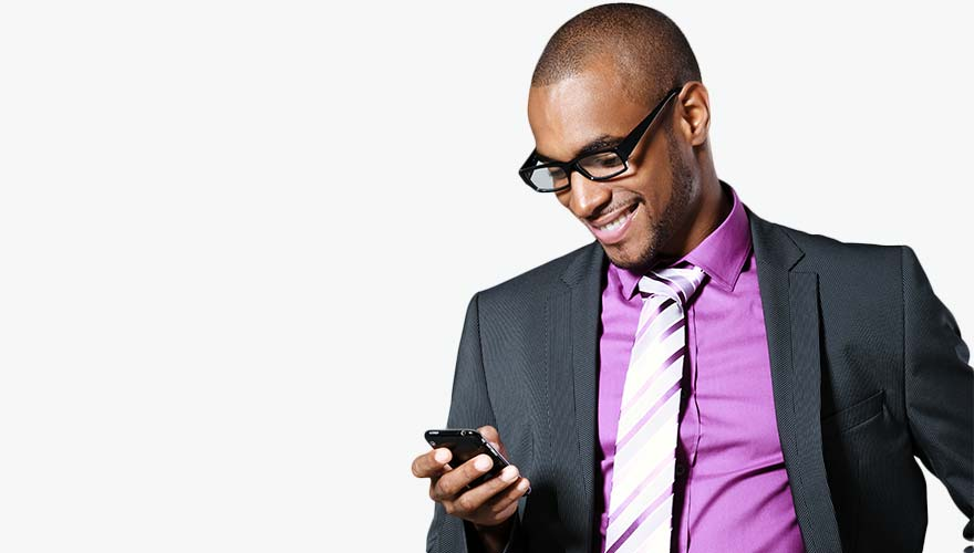 Man looking at mobile phone