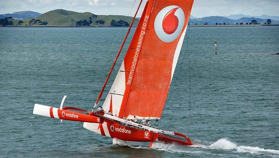 Team Vodafone sailing catamaran out at sea