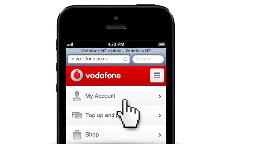 Mobile Phone With m.vodafone Screen