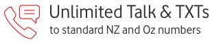 Unlimited Talk and Txts to standard NZ and Oz numbers
